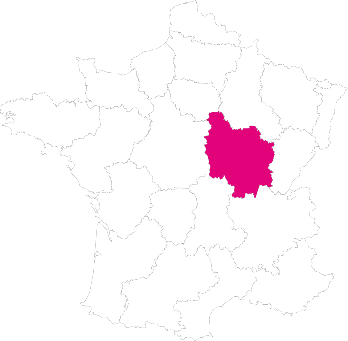 Carte France Région Bourgogne