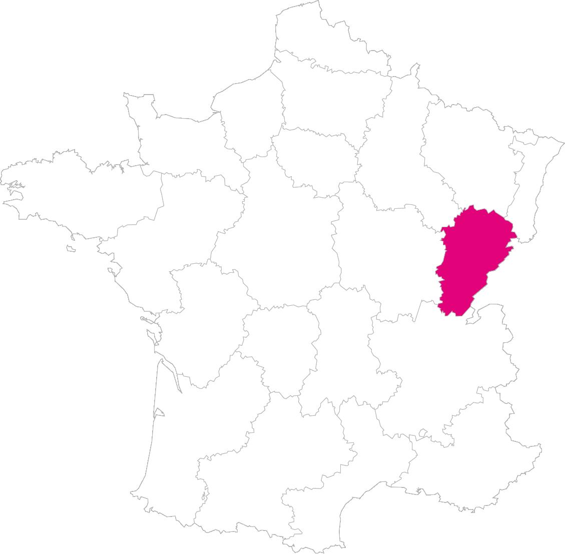 Carte France Région Franche-Comté