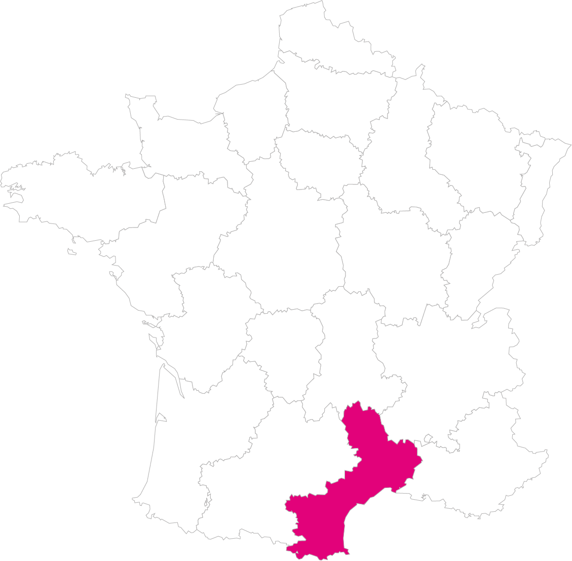 Carte France Région Languedoc-Roussillon