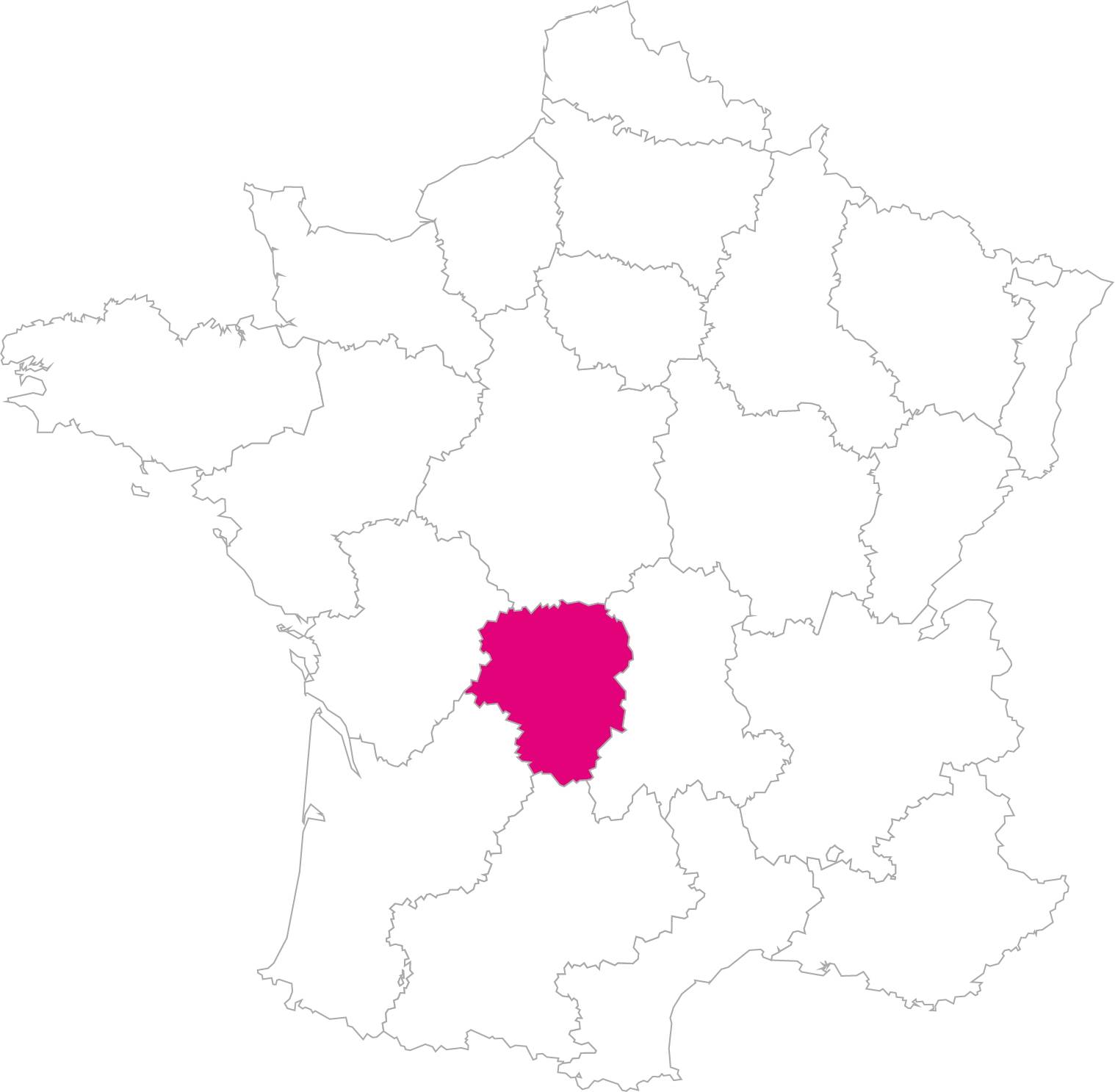 Carte France Région Limousin