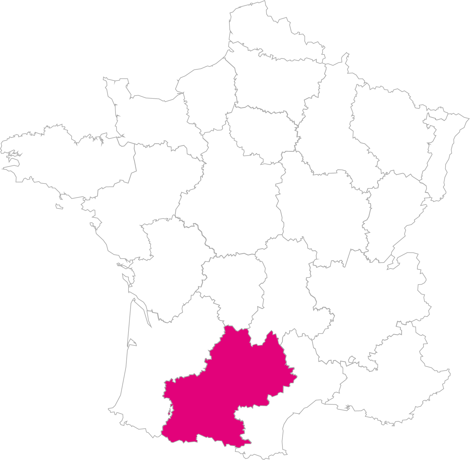 Carte France Région Midi-Pyrénées