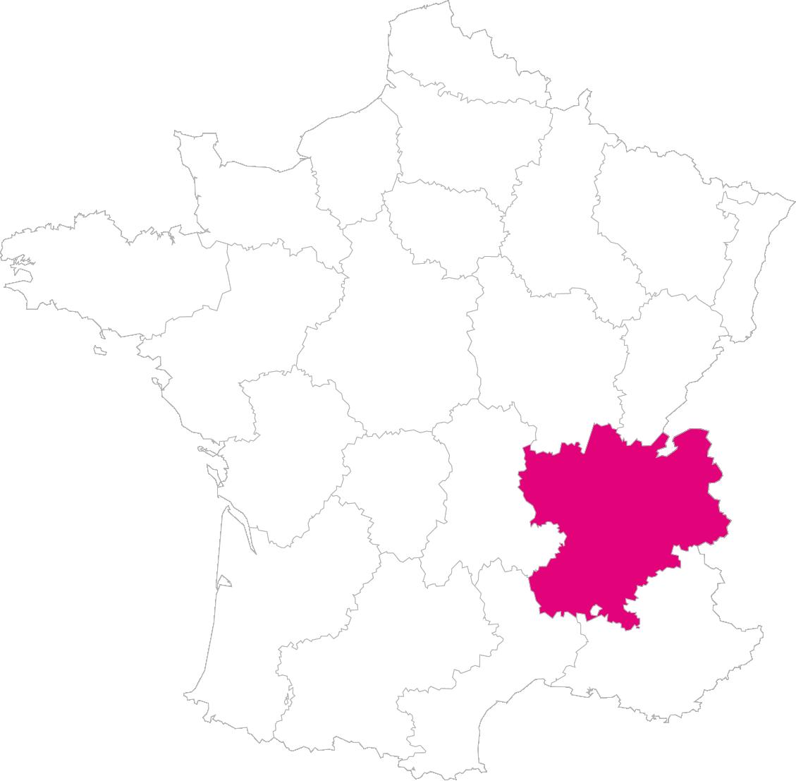 Carte France Région Rhône-Alpes
